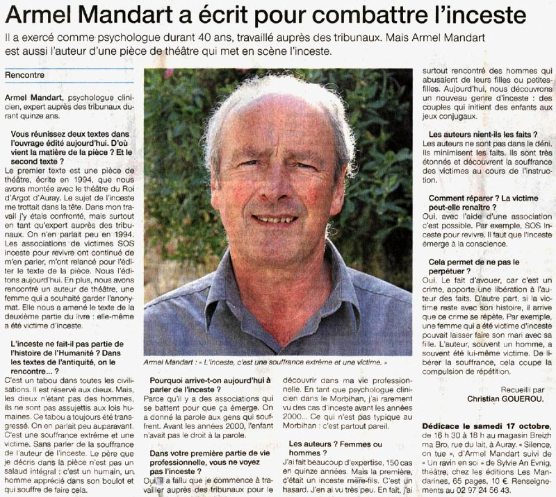 Article de Ouest-France paru le 08 octobre 2009