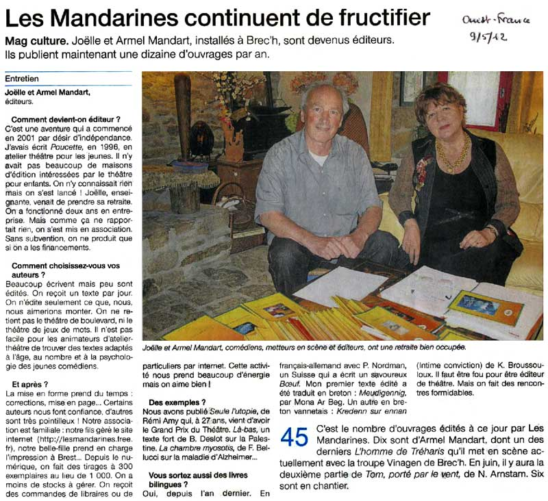 Article de Ouest-France paru le 09 mai 2012
